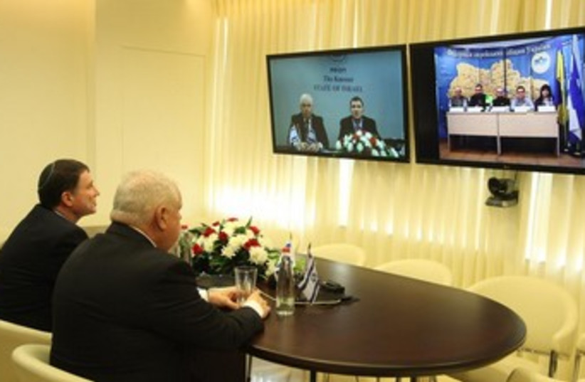 Knesset speaker video-chat with Ukranian Jewish community leaders (photo credit: KNESSET SPOKESMAN'S OFFICE)