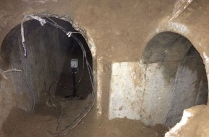Gaza terror tunnel. (photo credit: IDF SPOKESMAN'S OFFICE)