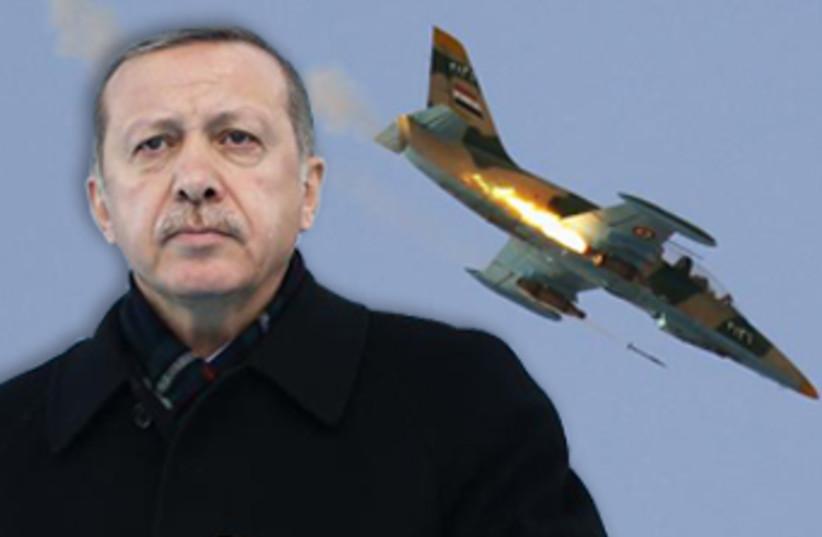Erdogan with fighter jet. (photo credit: REUTERS)