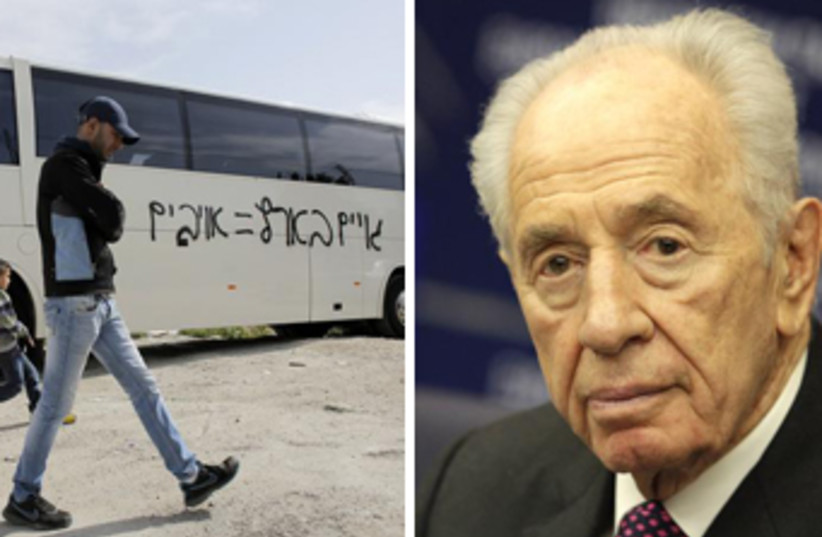 Peres on price tag attacks (photo credit: REUTERS)