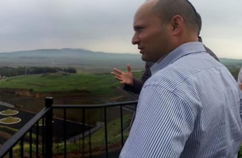 Bennett in Golan Heights (photo credit: Courtesy)