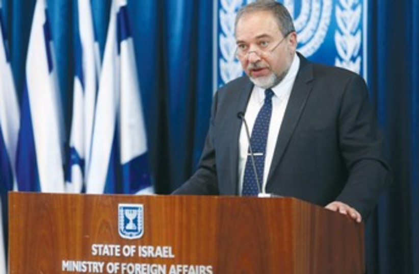 Foreign Minister Avigdor Liberman addresses the press in February. (photo credit: MARC ISRAEL SELLEM)