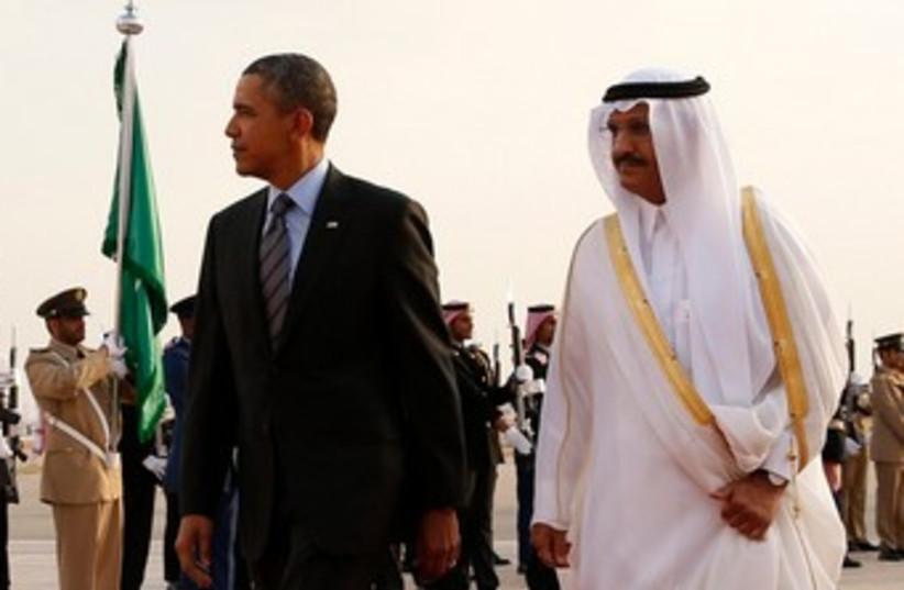 Obama with Saudi King Abdullah, March 28, 2014 (photo credit: REUTERS)