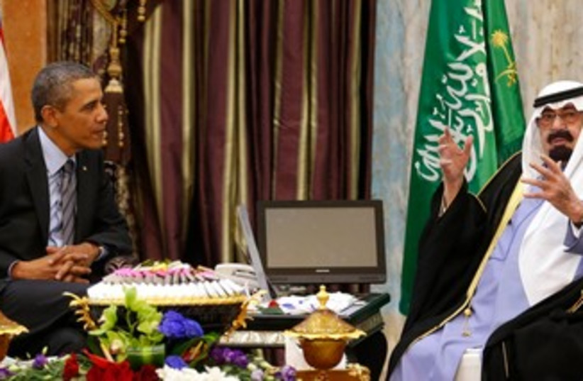 Obama with Saudi King Abdullah, March 28, 2014 (photo credit: REUTERS)