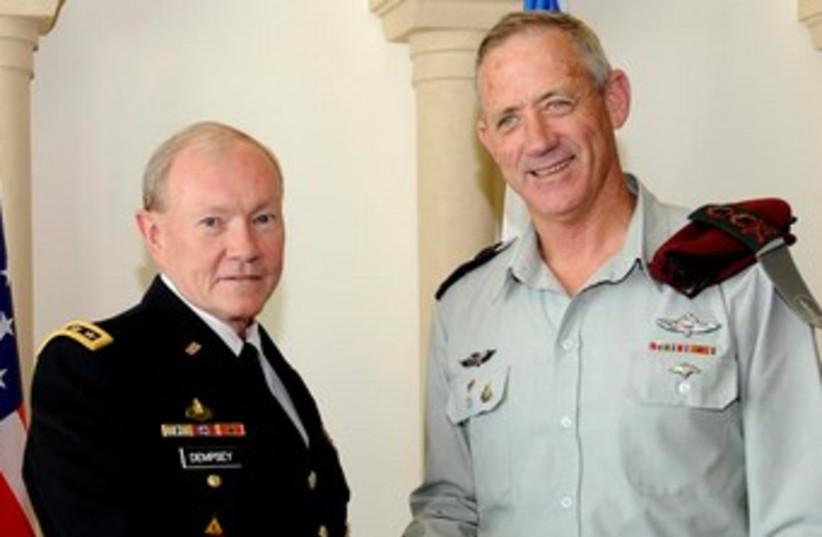 IDF Chief of Staff Benny Gantz meets US Joint Chiefs of Staff Martin Dempsey, March 30 (photo credit: DAVID AZAGURY, US EMBASSY TEL AVIV)