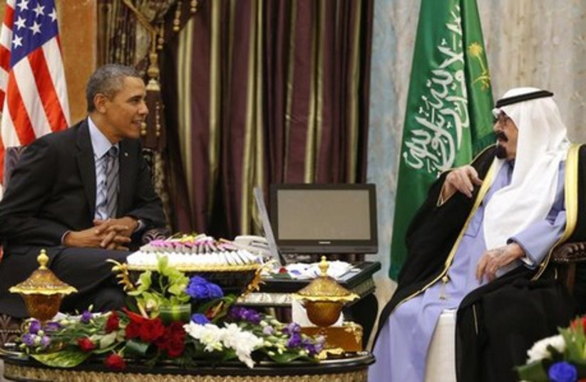 US President Barack Obama on state visit to Saudi Arabia, March 28 (photo credit: REUTERS)