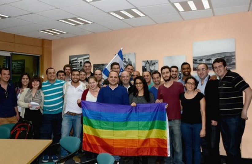 Ori Reshtick, chairman of the NUIS and chairmen from the student associations of higher education institutions at Kinneret College on the Sea of Galilee. (photo credit: Courtesy)