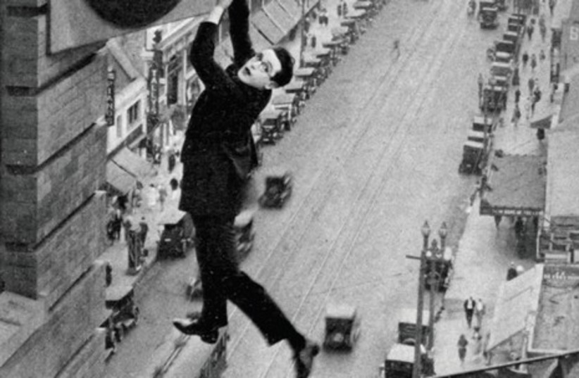 Harold Lloyd stars in the 1923 film, 'Safety Last.'  (photo credit: Wikimedia Commons)