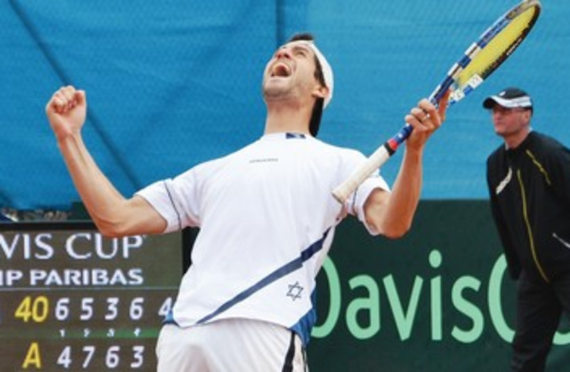 Amir Weintraub, celebrating after win. (photo credit: OFRA FRIEDMAN, ITA)
