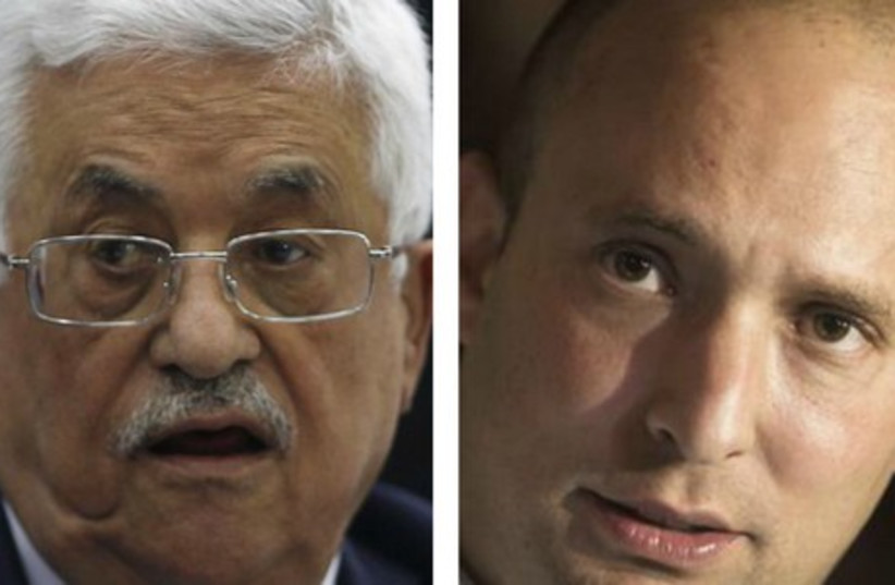 Palestinian Authority chief Mahmoud Abbas (L) and Economy Minister Naftali Bennett (photo credit: REUTERS)