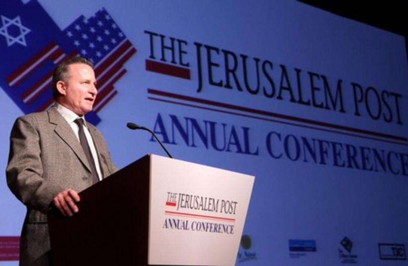 Steve Linde addresses 2013 JPost Conference (photo credit: JERUSALEM POST)