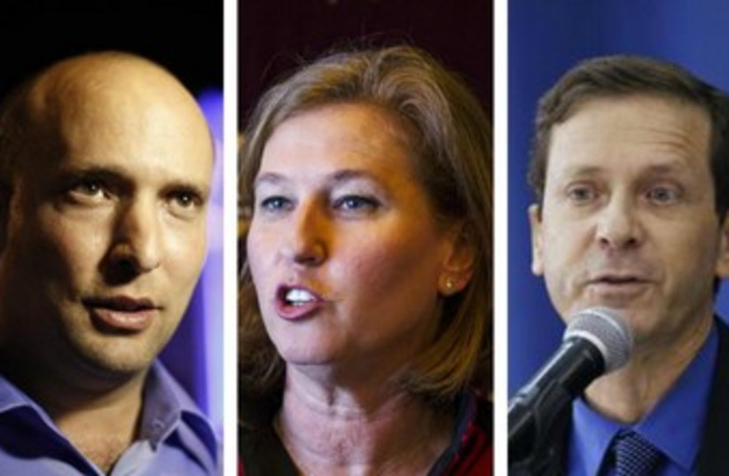 Economy Minister Naftali Bennett, Justice Minister Tzipi Livni, and Labor Party chief Isaac Herzog (photo credit: REUTERS)