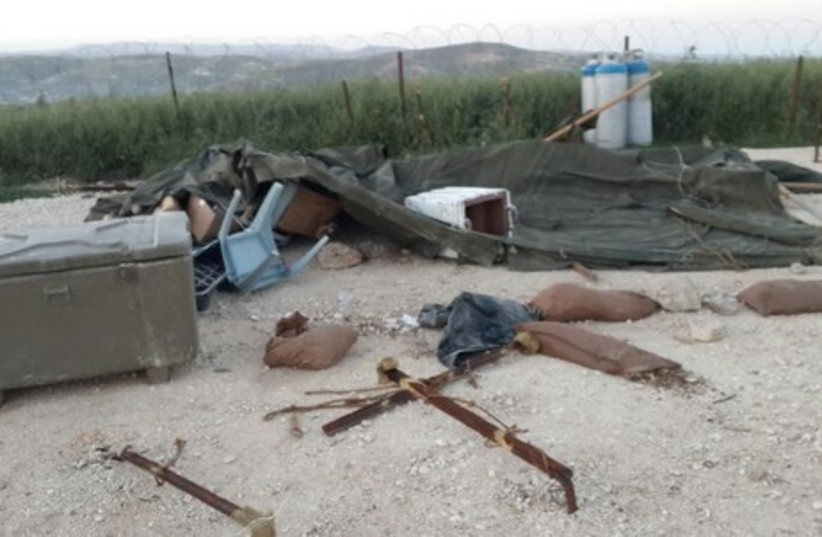 IDF post ransacked near Yitzhar (photo credit: IDF SPOKESMAN'S OFFICE)