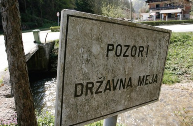 A signpost in eastern Slovenia. (photo credit: REUTERS)