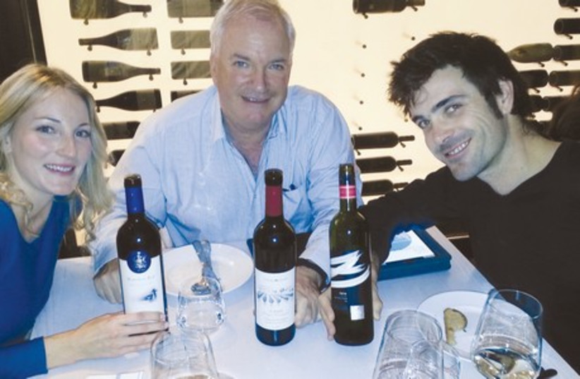 The Israeli Montefiores – from left, Rachel, Adam and David – and the wines they represent. (photo credit: Courtesy)