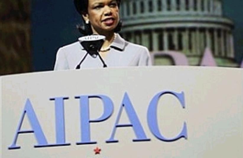 rice to aipac 298 88 ap (photo credit: AP [file])