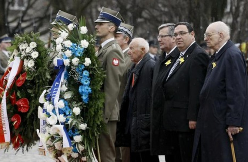 Ceremony commemorating the 70th anniversary of the Warsaw Ghetto Uprising,  April 19, 2013.  (photo credit: REUTERS)