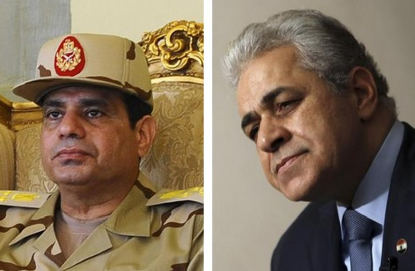 Former Egyptian army chief Abdel Fattah al-Sisi (R) and Popular Current leader Hamdeen Sabahy (L). (photo credit: REUTERS)