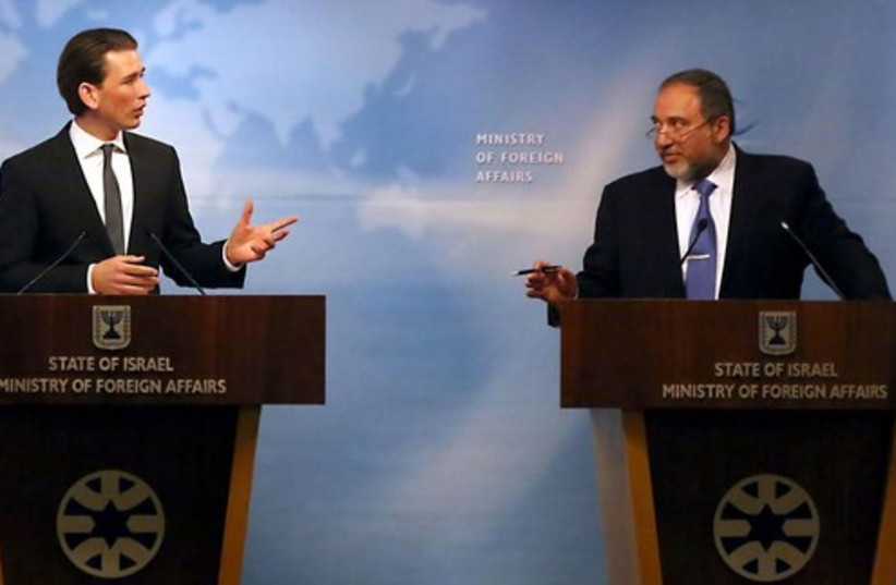 FM Avigdor Liberman with Austrian FM Sebastian Kurz (photo credit: YOSSI ZAMIR)