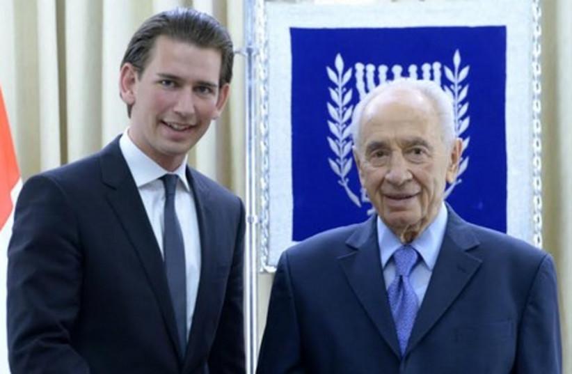 Austrian FM Kurz, with President Shimon Peres, April 22, 2014. (photo credit: Mark Neiman/GPO)