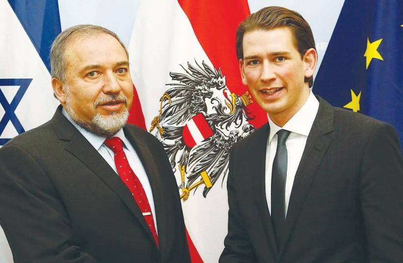 Foreign Minister Avigdor Liberman and Austrian Foreign Minister Sebastian Kurz. (photo credit: COURTESY AUSTRIAN FM, TATIC)