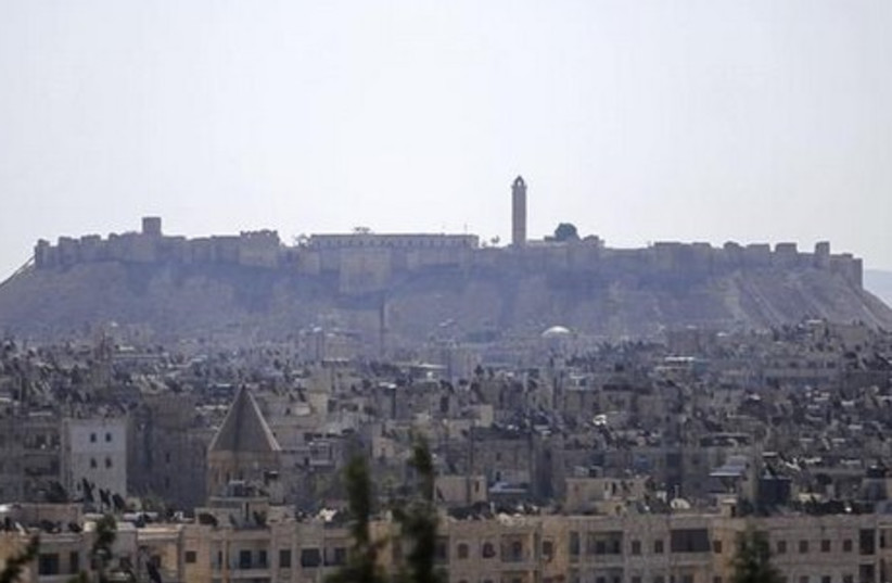 A general view shows the Citadel of Aleppo, which is controlled by the forces loyal to President Bashar al-Assad, in Sheikh Maksoud, Aleppo (photo credit: REUTERS)