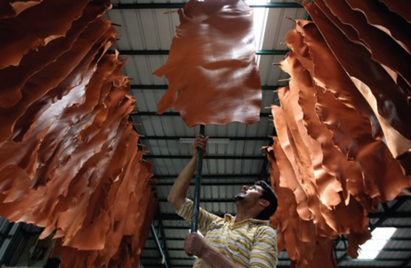 A TANNERY WORKER hangs pieces of leather to dry at a Hebron leather factory (photo credit: AMMAR AWAD/REUTERS)