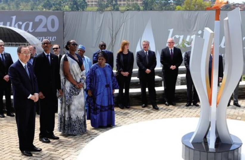 United Nations Secretary General Ban Ki-moon, Rwandan President Paul Kagame, Jeannette Kagame and African Union Commission Chairwoman Nkosazana Dlamini-Zuma participate in the commemoration of the 20th anniversary of the genocide, in the Rwandan capital Kigali on April 7. (photo credit: REUTERS)