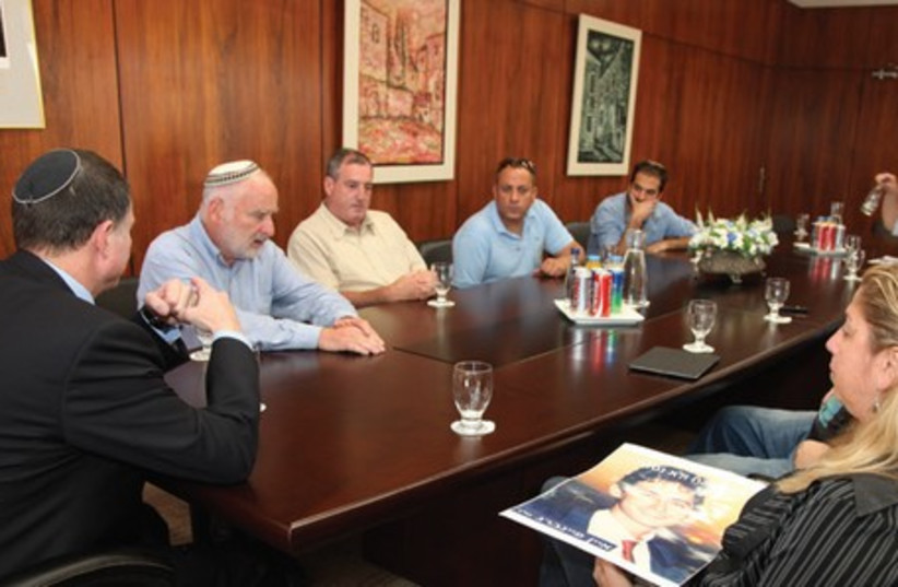 ALMAGOR MEMBERS meet with Knesset Speaker Yuli Edelstein (left) at the Knesset yesterday. (photo credit: KNESSET SPOKESMAN'S OFFICE)
