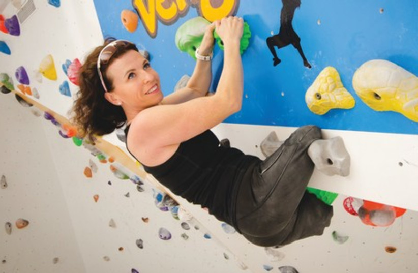 PASCALE BERCOVITCH climbs at her husband's gym in Tel Aviv. (photo credit: ROMY NETIV)