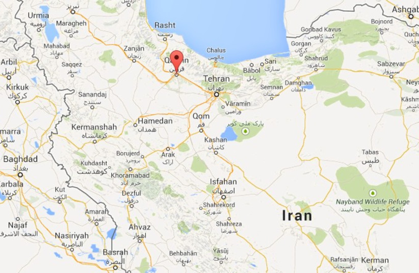 Map indicating city of Qavzin, Iran (photo credit: screenshot)