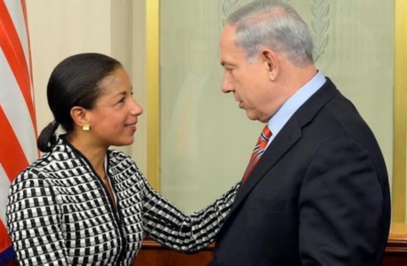 Susan Rice and Netanyahu (photo credit: MATTY STERN, US EMBASSY TEL AVIV)