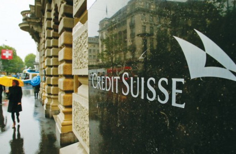 UNITED STATES prosecutors have been pushing for Credit Suisse, the biggest Swiss bank, in a tax-evasion probe into Swiss banks by US authorities, to plead guilty as part of a resolution of the investigation (photo credit: REUTERS)