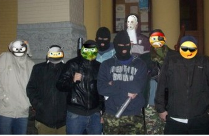 Members of Kiev's recently-established Jewish rapid intervention force (photo credit: JTA)