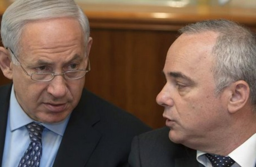Prime Minister Binyamin Netanyahu (L) confers with Strategic Affairs Minister Yuval Steinitz in Jerusalem. (photo credit: REUTERS)