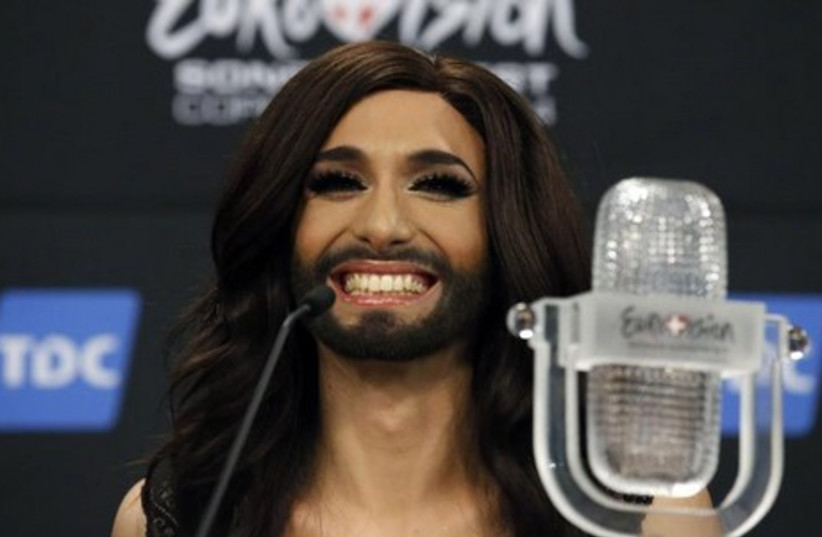 Austrian drag queen Conchita Wurst wins the 59th annual Eurovision Song Contest. (photo credit: REUTERS)
