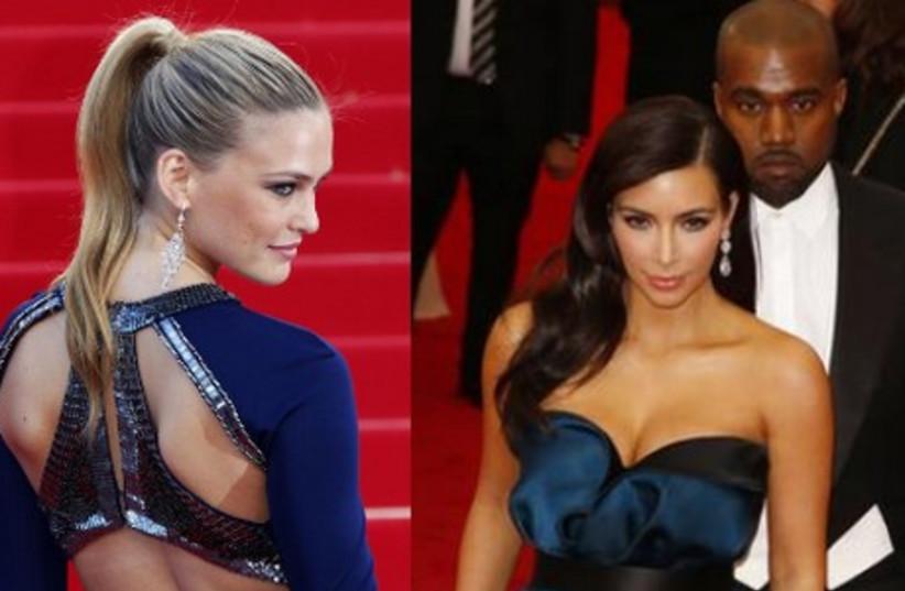 Bar Refaeli, Kim Kardashian, Kanye West (photo credit: REUTERS)