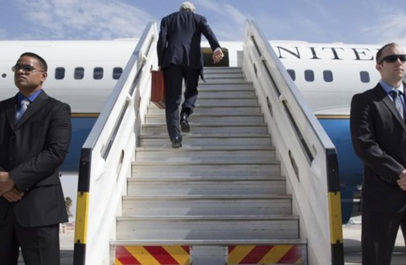 Turning his back on the peace process?: US Secretary of State John Kerry leaves Tel Aviv, April 1, as Israeli-Palestinian peace talks collapse (photo credit: JACQUELYN MARTIN / POOL / REUTERS)