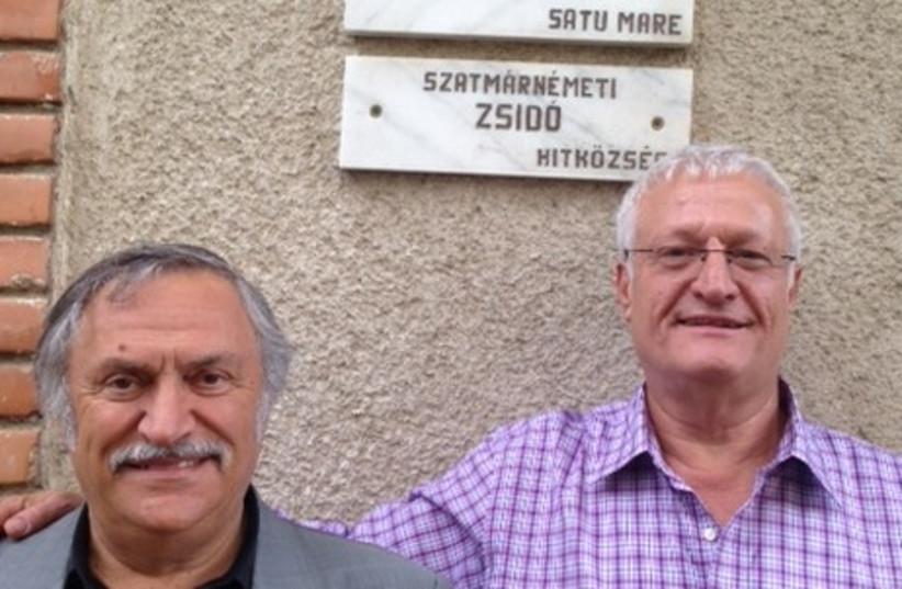 Limmud FSU founder Chaim Chesler (R) with Nicolae Decsei head of the Satu Mare Jewish community. (photo credit: Courtesy)