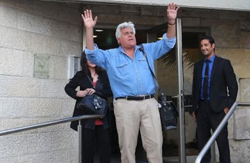 Jay Leno at Ben-Gurion Airport in Tel Aviv, May 20, 2014. (photo credit: Courtesy)
