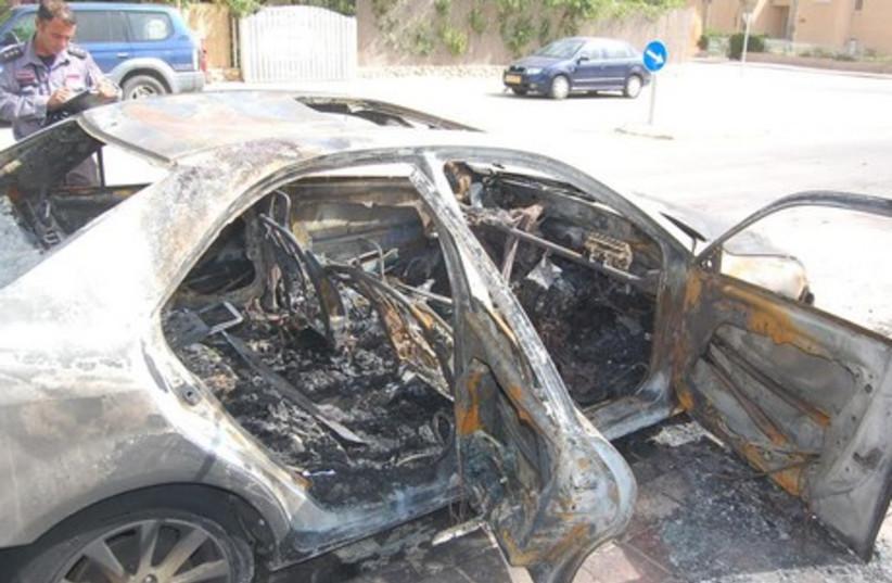 Judge's car set on fire in Beersheba (photo credit: TIMI REGEV/SHEVA)