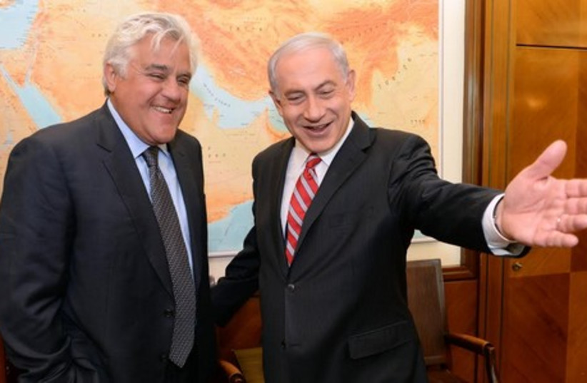 PM Netanyahu meets with Jay Leno (photo credit: KOBI GIDEON/GPO)