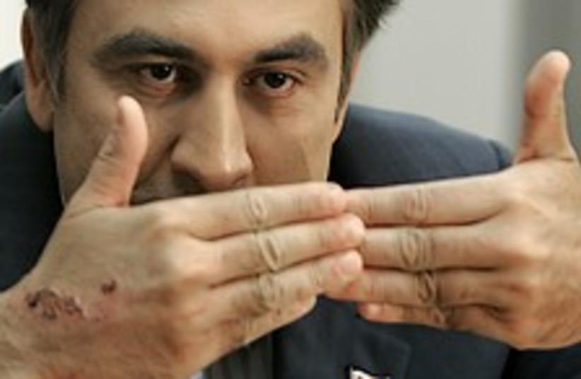 Saakashvili gestures 224.88 (photo credit: AP)
