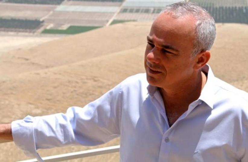 Strategic Affairs Minister Yuval Steinitz overlooks the Jordan Valley May 21, 2014. (photo credit: TOVAH LAZAROFF)