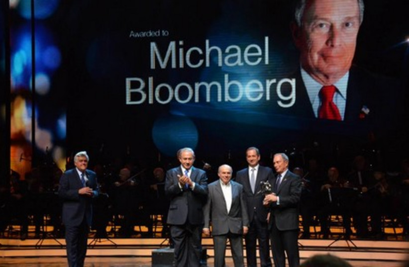 Former New York mayor Michael Bloomberg (far right) is awarded the first-ever Genesis Prize in Jerusalem, May 22, 2014. (photo credit: MOSHE MILNER/GENESIS)