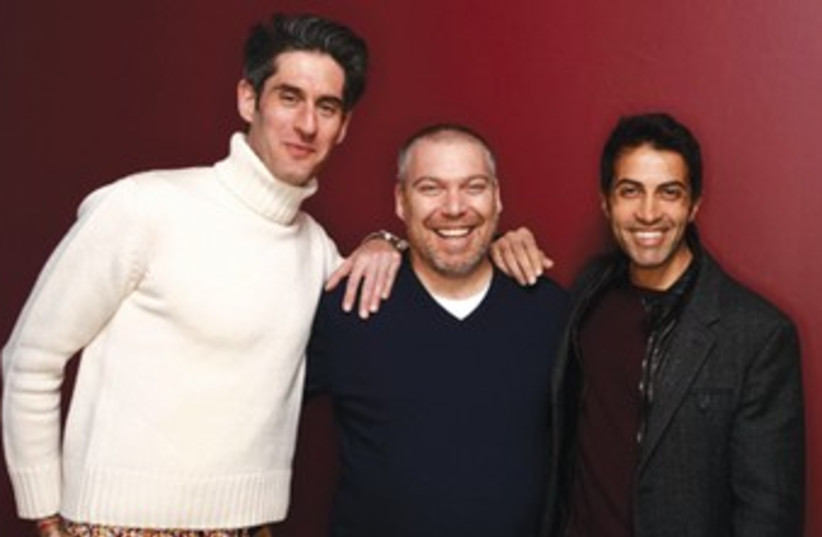 FROM LEFT, Nadav Schirman, Gonen Ben-Itzhak and Mosab Hassan Yousef in a publicity still for the Sundance Film Festival. (photo credit: Courtesy)