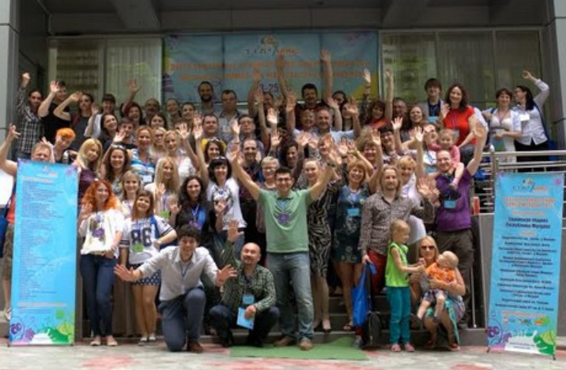 Participants in front of Chisinau's Institutul Muncii Center, where Limmud FSU Moldova is being held. (photo credit: GEORGE OMEN)
