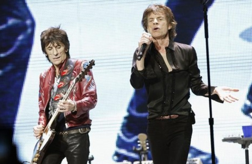 Mick Jagger (R) and Ronnie Wood of The Rolling Stones.  (photo credit: REUTERS)