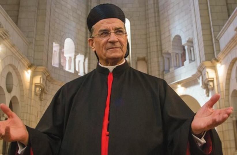 Maronite Patriarch Beshara al-Rai visits the Latrun Monastery. (photo credit: REUTERS)