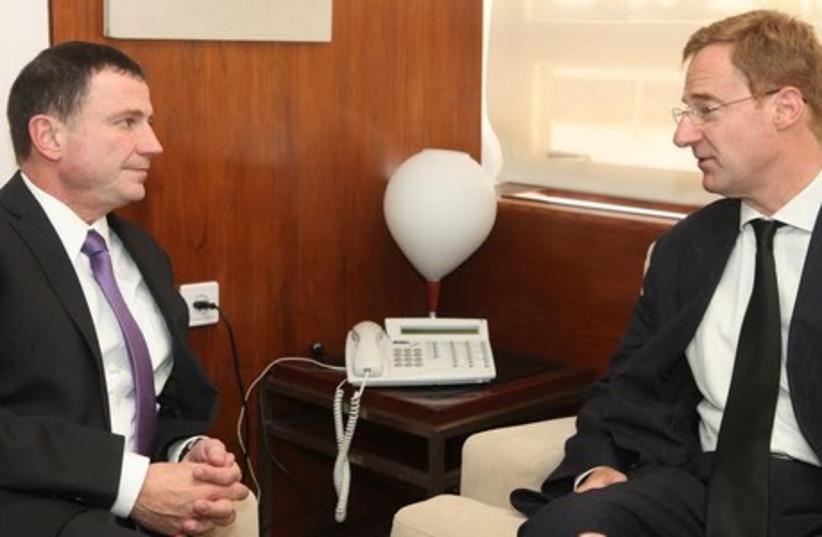 Knesset speaker Yuli Edelstein (L) meets with Beligum's ambassador to Israel, John Cornet d'Elzius. (photo credit: KNESSET SPOKESMAN'S OFFICE)